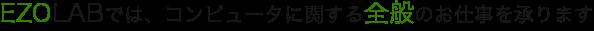 """EZOLABでは、ホームページ作成やソフトウェア開発などコンピュータに関する """"全般"""" のお仕事を承ります。"""